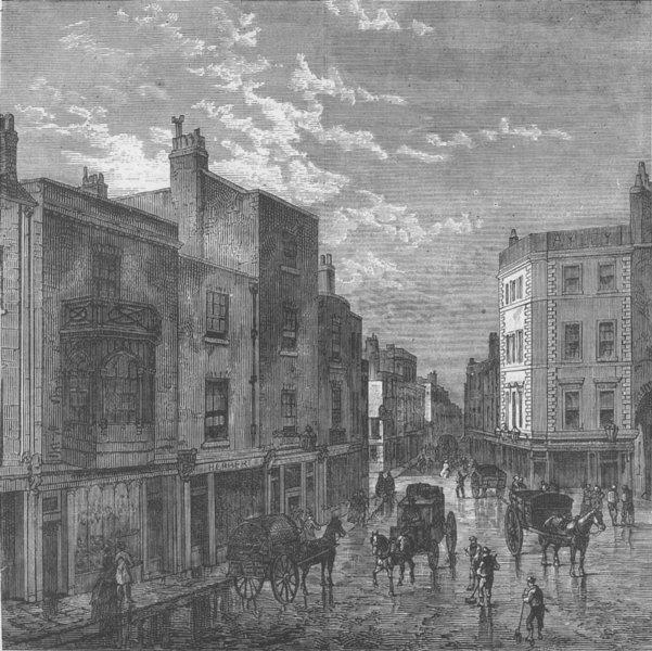 Associate Product KENSINGTON. Kensington High Street, in 1860. London c1880 old antique print