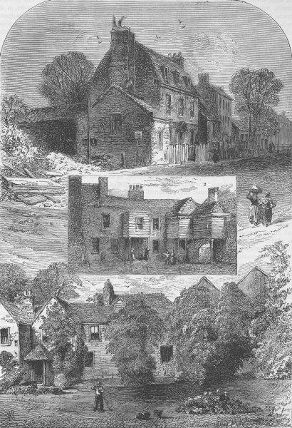 Associate Product OLD KENSINGTON. 1. Manor House, 2. Old Tavern, 3. Little Holland House c1880