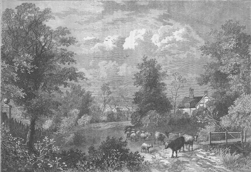 NOTTING HILL. View in 1750. London c1880 old antique vintage print picture