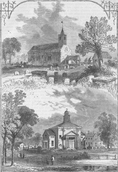 Associate Product PADDINGTON. Paddington Church. 1750 and 1805. London c1880 old antique print