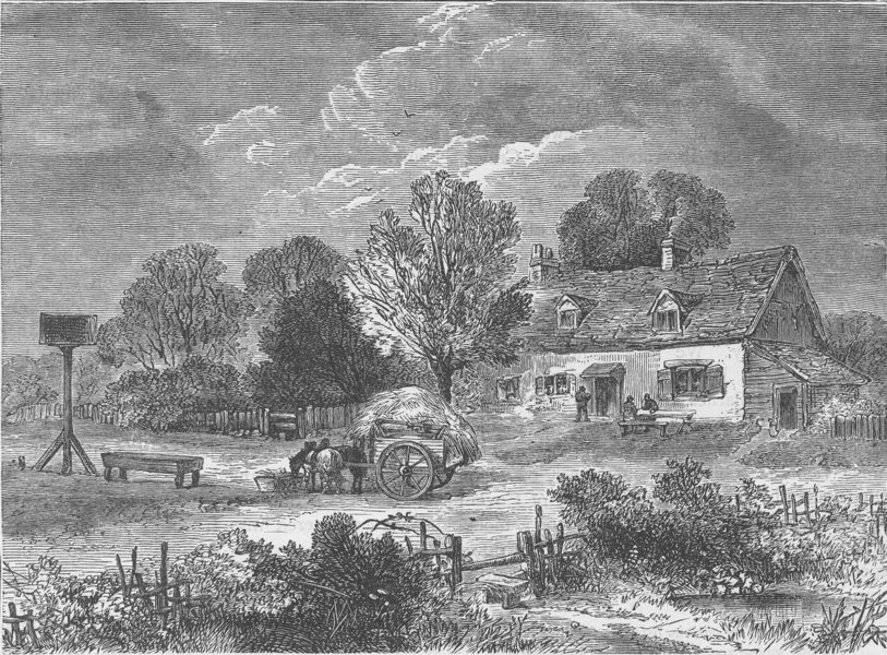 """Associate Product KENSAL GREEN. The """"Plough"""" Inn, 1820. London c1880 old antique print picture"""