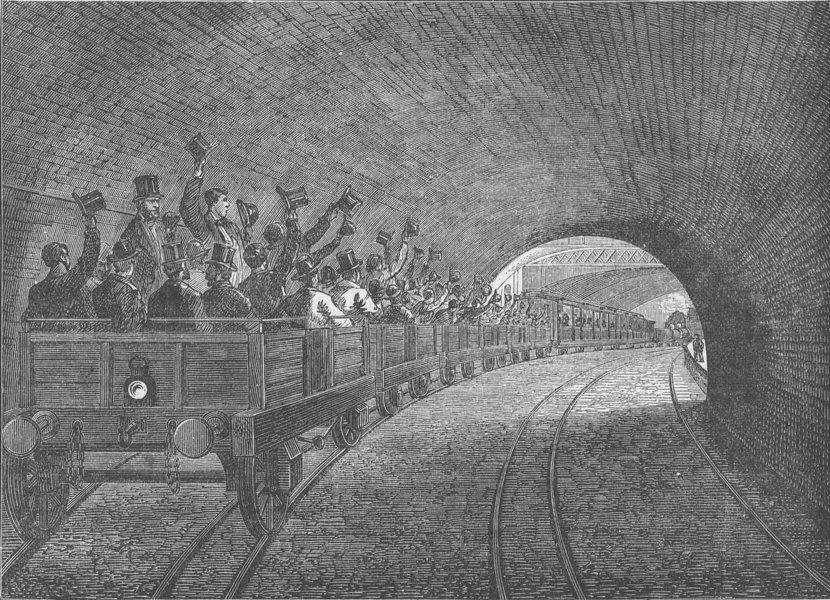 Associate Product LONDON UNDERGROUND. Trial trip on the underground railway, 1863 c1880 print