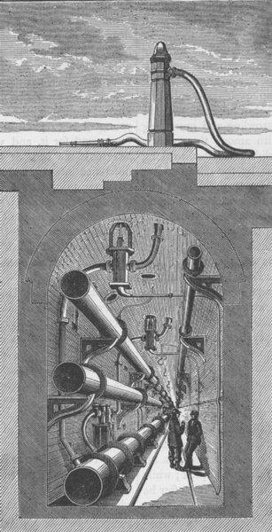 Associate Product LONDON UNDERGROUND. Interior of subway, Holborn Viaduct (Haywood report) c1880