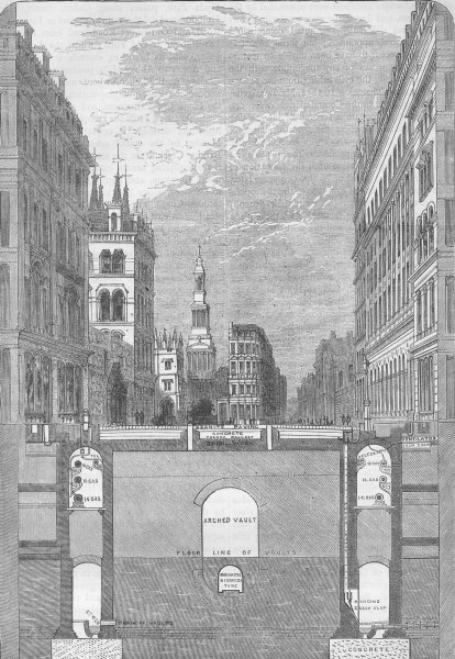 Associate Product LONDON. Holborn Viaduct section, showing subways (Haywood report) c1880 print