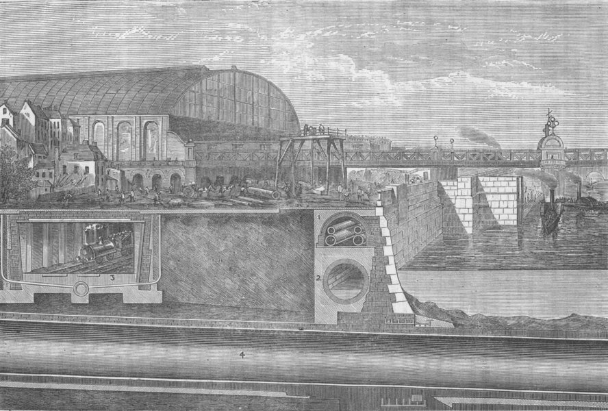 Associate Product LONDON UNDERGROUND. Section of the Thames Embankment, 1867 c1880 old print