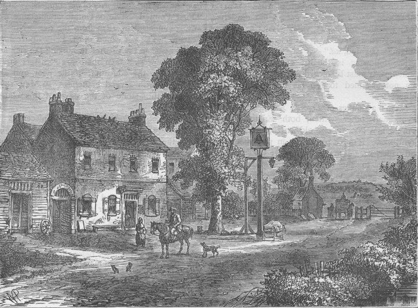 """Associate Product KILBURN. The """"Bell Inn"""", Kilburn, 1750. London c1880 old antique print picture"""