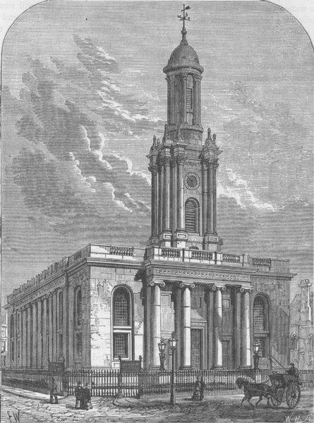 Associate Product PRIMROSE HILL. Trinity Church, Albany Street. London c1880 old antique print