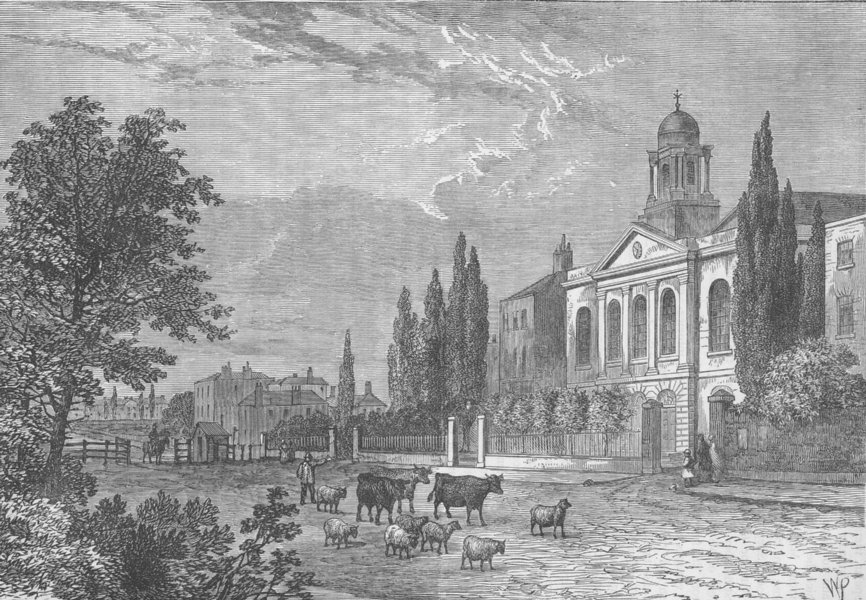 EUSTON ROAD. Turnpike in the Hampstead Road & St.James's Church, in 1820 c1880