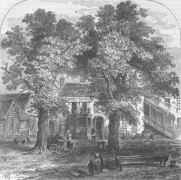 KENTISH TOWN. The assembly rooms, Kentish Town, 1750. London c1880 old print