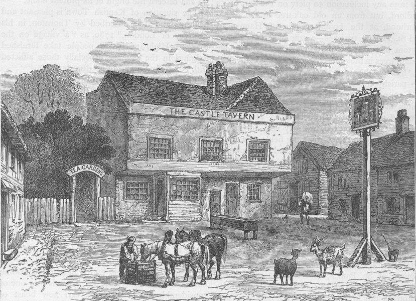 """Associate Product KENTISH TOWN. The """"Castle"""" Tavern, Kentish Town Road, in 1800. London c1880"""