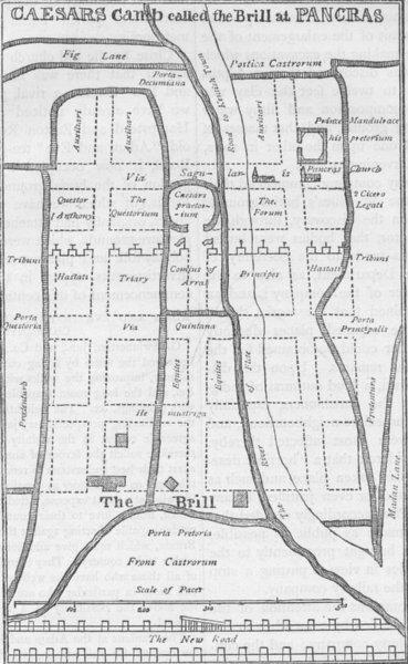 Associate Product ST.PANCRAS. Dr. Stukeley's plan of the camp at St.Pancras. London c1880 map