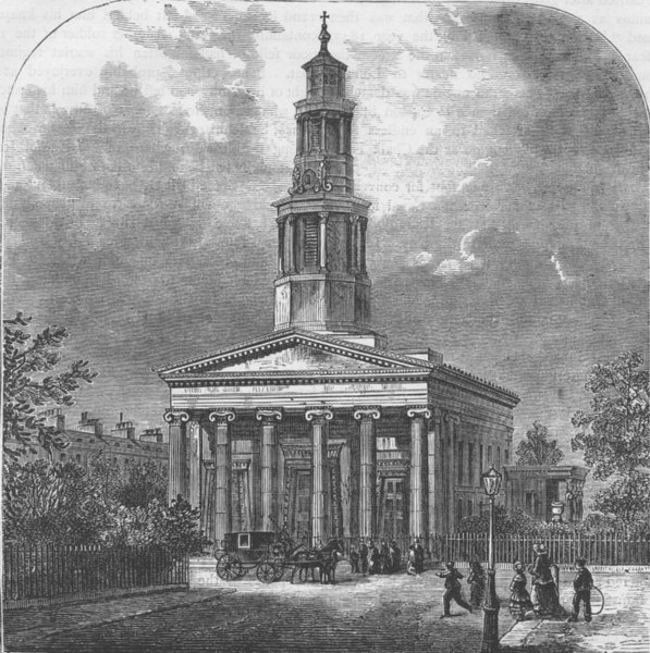 Associate Product EUSTON SQUARE. New St.Pancras Church. London c1880 old antique print picture