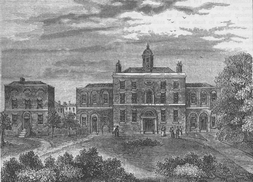 KING'S CROSS. The Small-Pox Hospital, in 1800. London c1880 old antique print