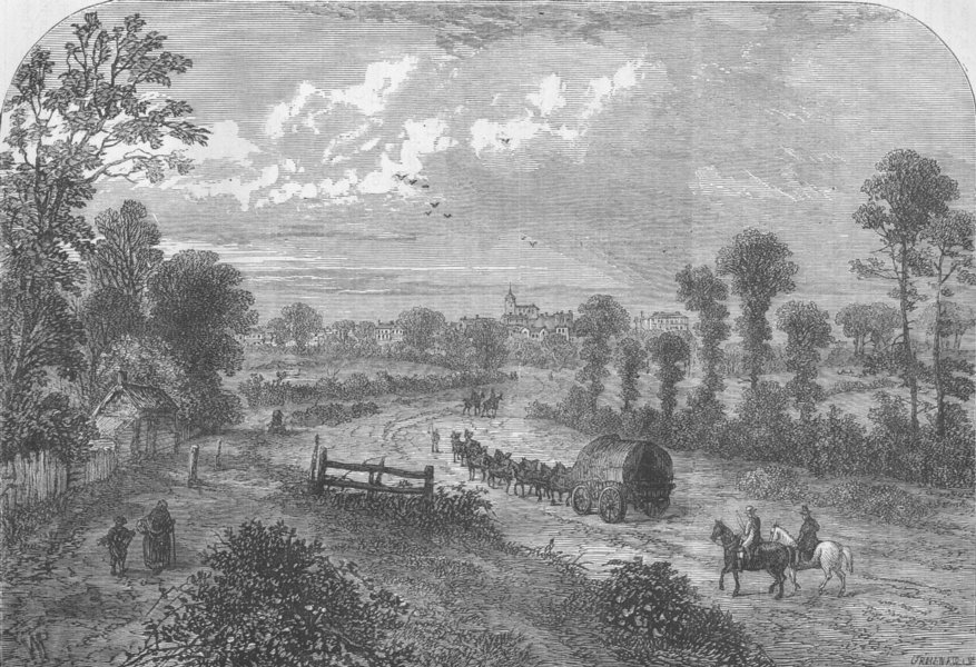 HOLLOWAY. Highgate, from Upper Holloway (From Chatelain, 1745). London c1880