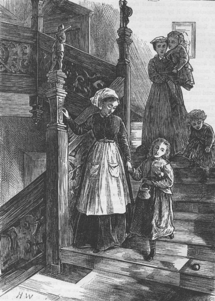 Associate Product HIGHGATE. Staircase of Cromwell House, 1876. London c1880 old antique print