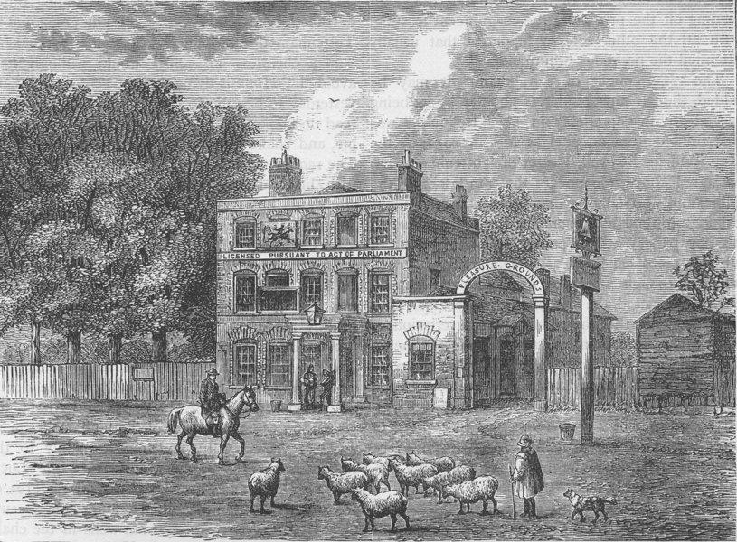 "EDMONTON. The ""Bell"" Inn. London c1880 old antique vintage print picture"