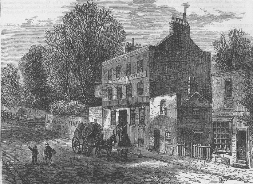 """Associate Product HIGHGATE. The """"Old Crown Inn,"""" in 1830. London c1880 antique print picture"""