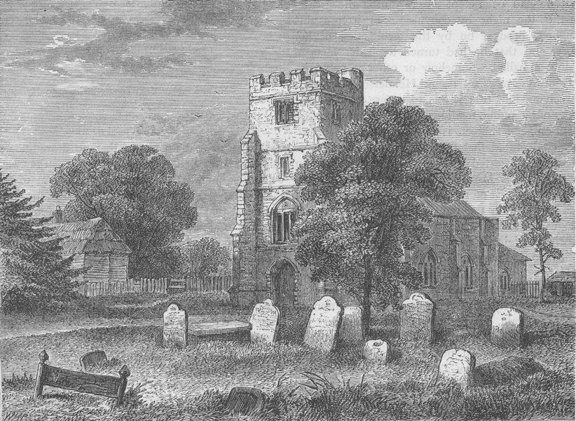 Associate Product NORTH TOTTENHAM. Edmonton Church, 1790. London c1880 old antique print picture