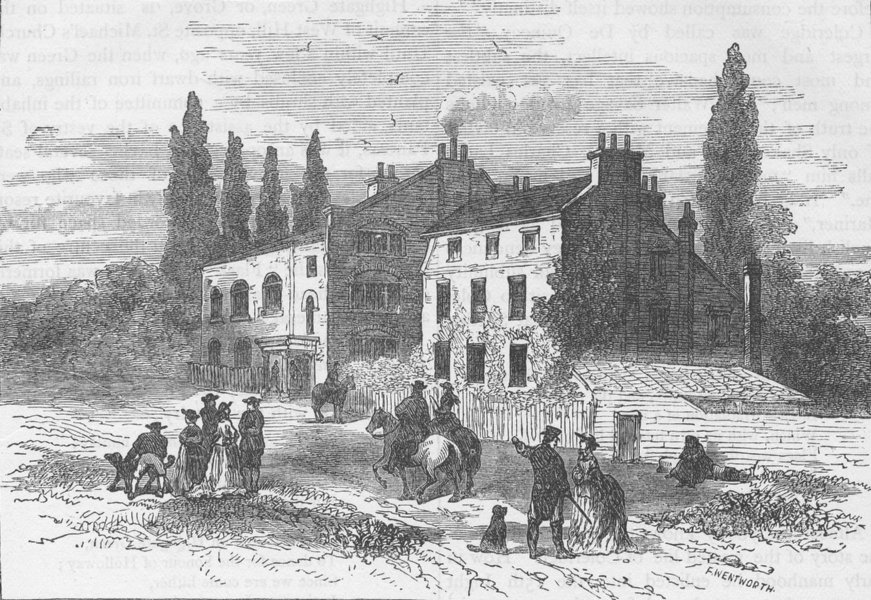 Associate Product HIGHGATE. Hornsey Wood House, 1800. London c1880 old antique print picture
