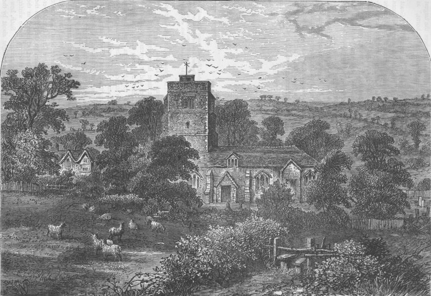 Associate Product HIGHGATE. Hornsey Church in 1750. London c1880 old antique print picture