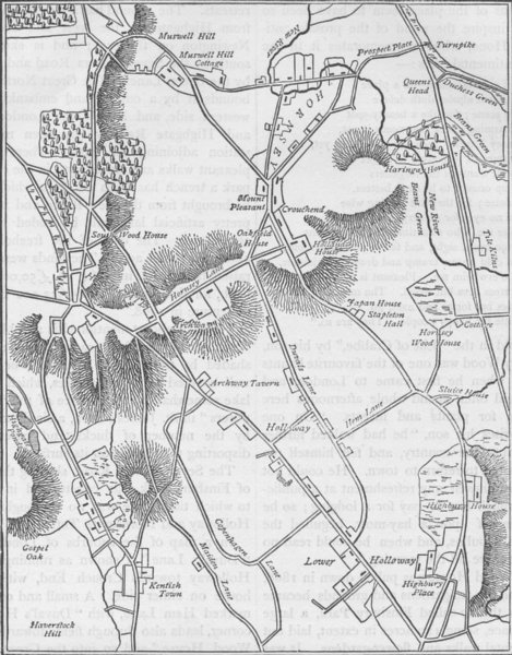 Associate Product HORNSEY. Map of Hornsey and neighbourhood in 1819. London c1880 old