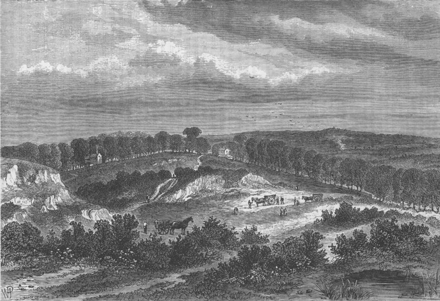 HAMPSTEAD. Hampstead Heath in 1840 (after Constable). London c1880 old print