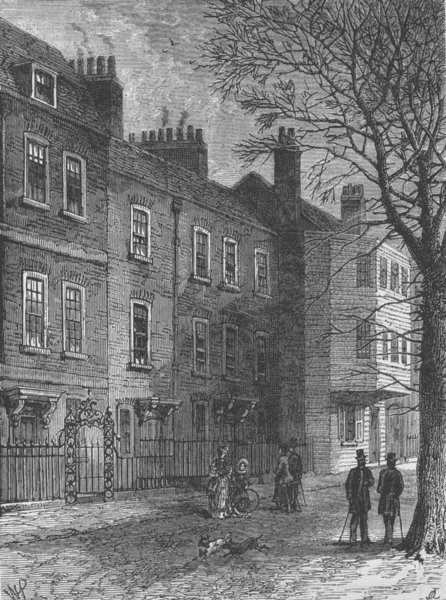 Associate Product HAMPSTEAD. Old Houses in Church Row. London c1880 antique print picture