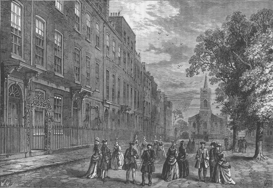 HAMPSTEAD. Church row, Hampstead, in 1750. London c1880 old antique print