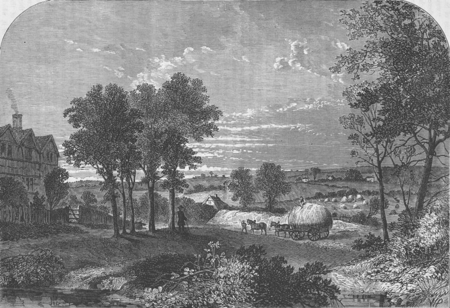 """Associate Product HAMPSTEAD. View from """"Moll King's House,"""" Hampstead, in 1760. London c1880"""