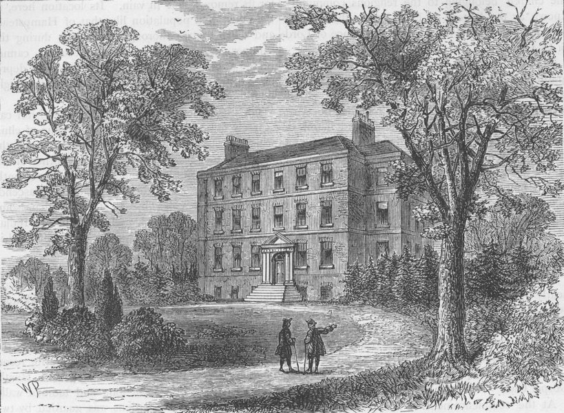 HAMPSTEAD. Belsize House in 1800. London c1880 old antique print picture
