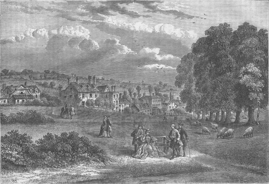 Associate Product HAMPSTEAD. Pond Street, Hampstead, in 1750. London c1880 old antique print