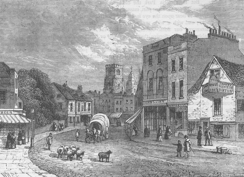 Associate Product HACKNEY. Hackney, looking towards the church, 1840. London c1880 old print