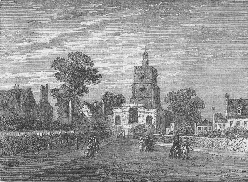 Associate Product HACKNEY. Hackney Church, 1750. London c1880 old antique vintage print picture