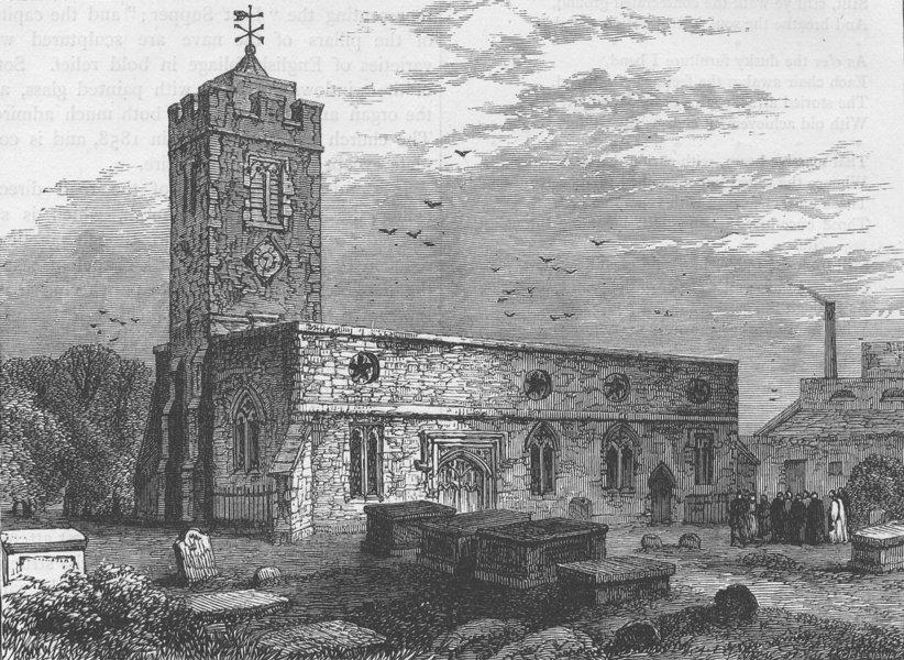 Associate Product STOKE NEWINGTON. Stoke Newington Church, 1750. London c1880 old antique print