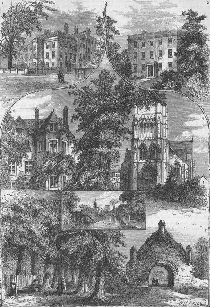 Associate Product STOKE NEWINGTON. Views in Stoke Newington. London c1880 old antique print