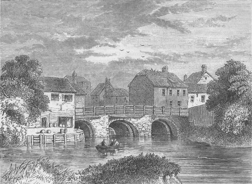 Associate Product STRATFORD. Old Bow bridge. London c1880 antique vintage print picture