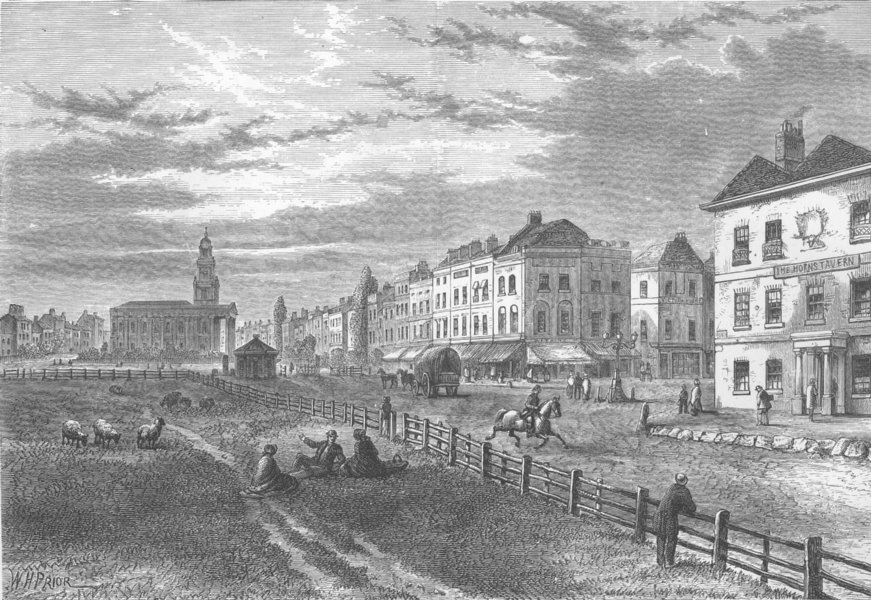 Associate Product SOUTHWARK. Kennington common and church. London c1880 old antique print