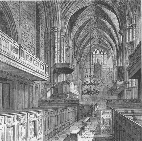 Associate Product SOUTHWARK. Interior of St.Saviour's church. London c1880 old antique print