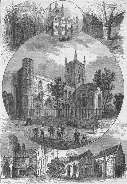 Associate Product SOUTHWARK. Views of St.Saviour's church. London c1880 old antique print