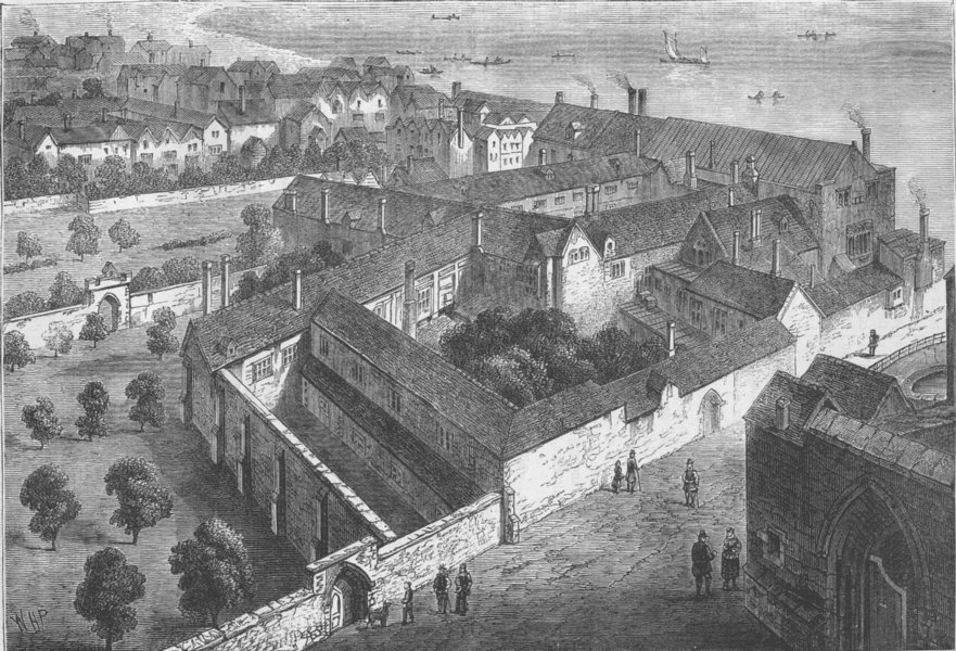 Associate Product SOUTHWARK. Winchester House (from a view by Hollar, 1660). London c1880 print
