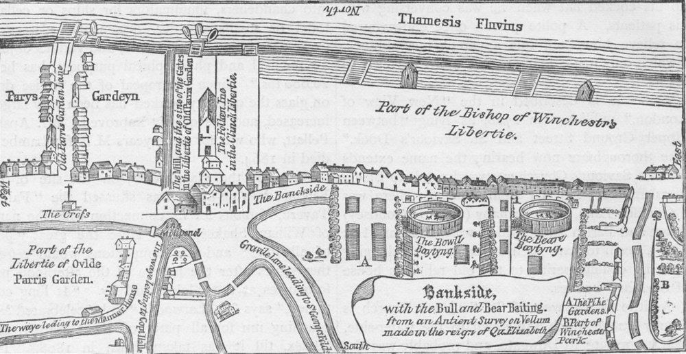 Associate Product SOUTHWARK. Plan of Bankside, early in the seventeenth century. London c1880 map