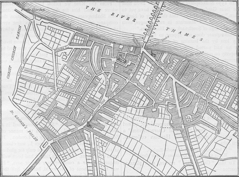 Associate Product SOUTHWARK. Map of Southwark, 1720. London c1880 old antique plan chart