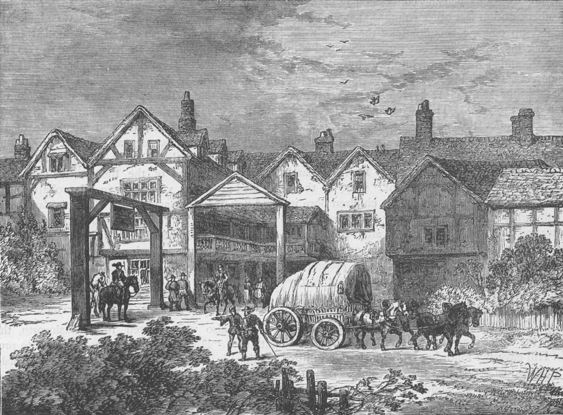"""Associate Product SOUTHWARK. The old """"Tabard"""" inn, in the seventeenth century. London c1880"""
