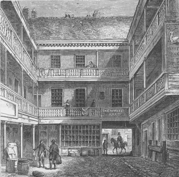 """Associate Product SOUTHWARK. The Old """"White Hart"""" Inn. London c1880 antique print picture"""