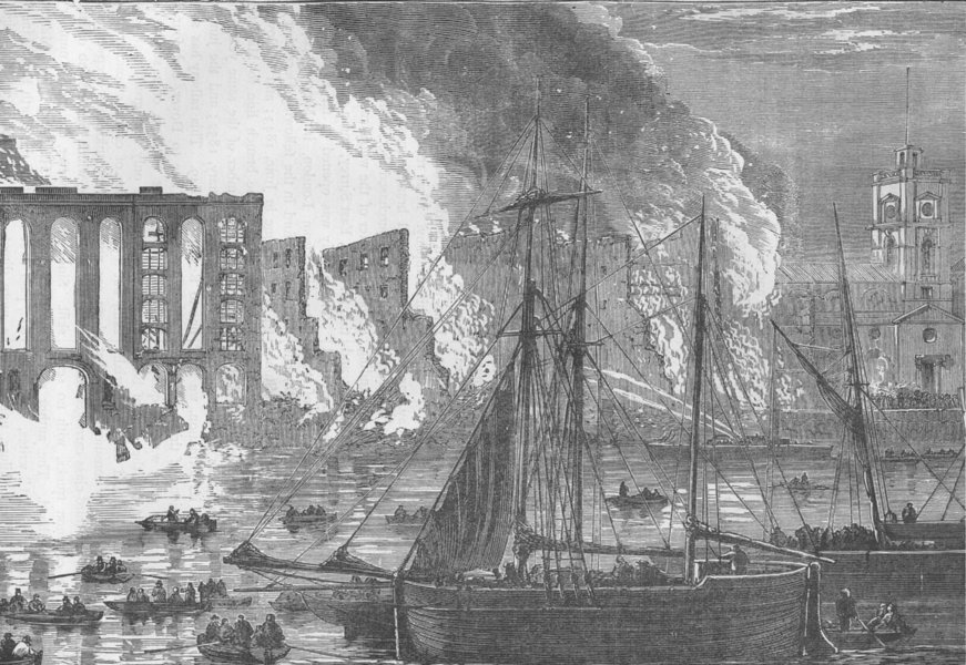 Associate Product SOUTHWARK. The great fire at Cotton's Wharf Tooley Street, 1861. London c1880