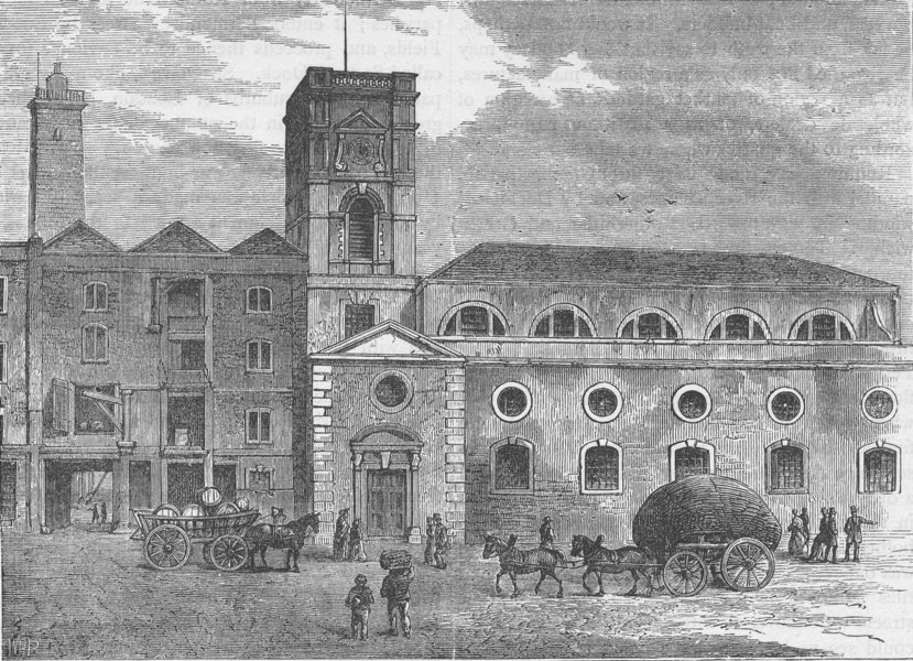 Associate Product BERMONDSEY. St.Olave's church, in 1820. London c1880 old antique print picture