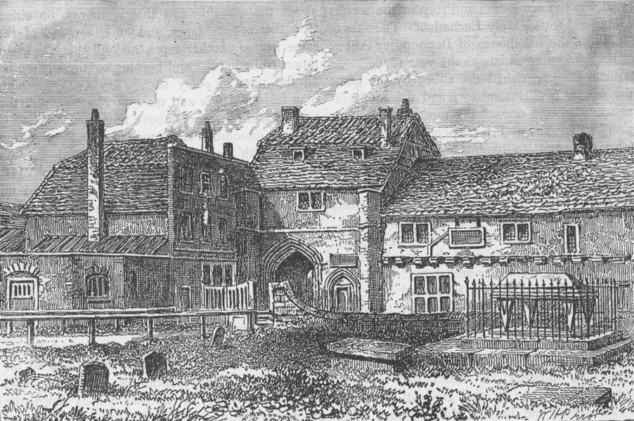 Associate Product BERMONDSEY. Bermondsey Abbey, 1790. London c1880 old antique print picture