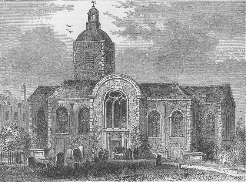Associate Product BERMONDSEY. St.Mary Magdalen's church, Bermondsey, 1809. London c1880 print