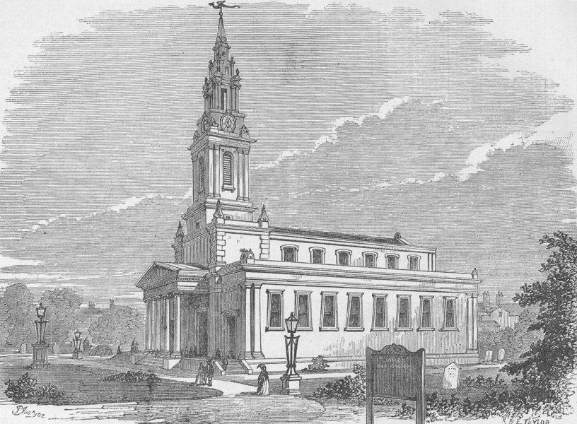 Associate Product BERMONDSEY. St.James's church, Bermondsey. London c1880 old antique print
