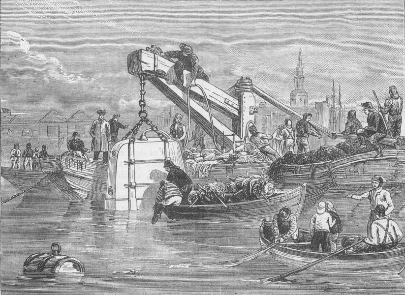 Associate Product ROTHERHITHE. Diving-bell used in constructing the Thames Tunnel. London c1880